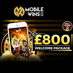 Mobile Wins UK Casino: €800 welcome bonus - play slots for free!