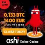Oshi.io Crypto Casino 290 free spins + 0.133 btc or 1400€ bonus