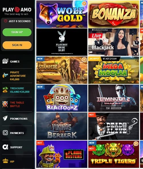 Play Amo Casino bonuses