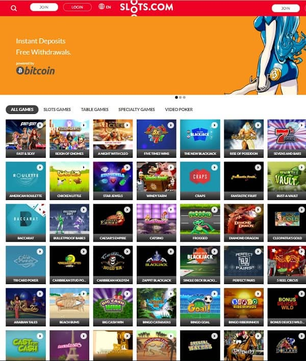 Slots com Casino 100% bonus up to 1 BTC free on RTG games