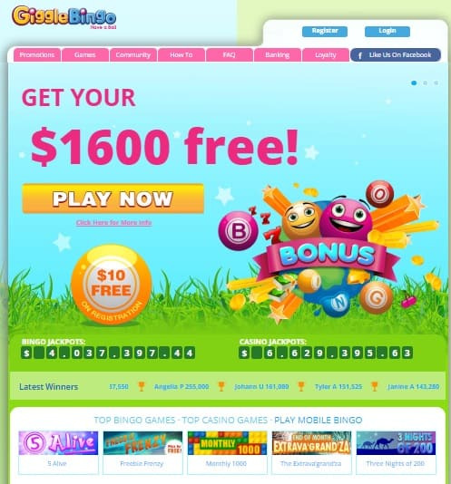 Giggle Bingo Casino $10 no deposit required!