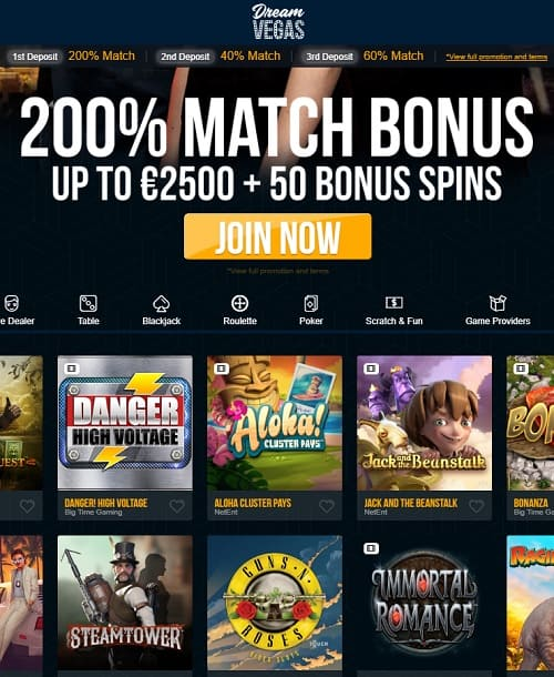 Dream Vegas Casino Review: 120 gratis spins + £/€/$7500 free bonus