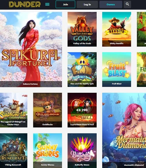 Dunder Casino Review - 200 free spins no deposit & €600 free bonus