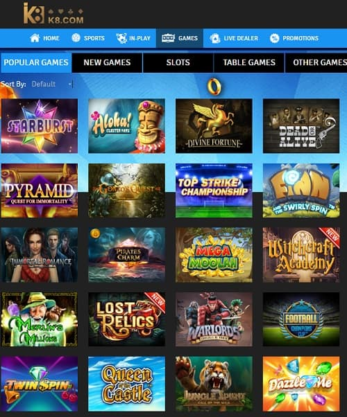 K8 Casino Review: 100% up to £100 bonus and free play for UK players