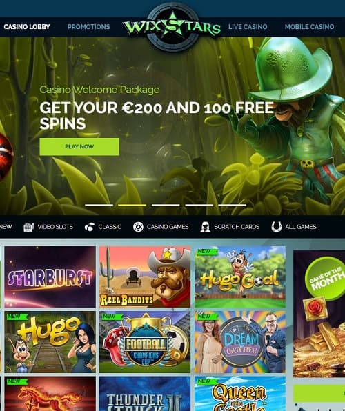 Wixstars Casino Review (Approved) €200 free bonus & 100 frree spins