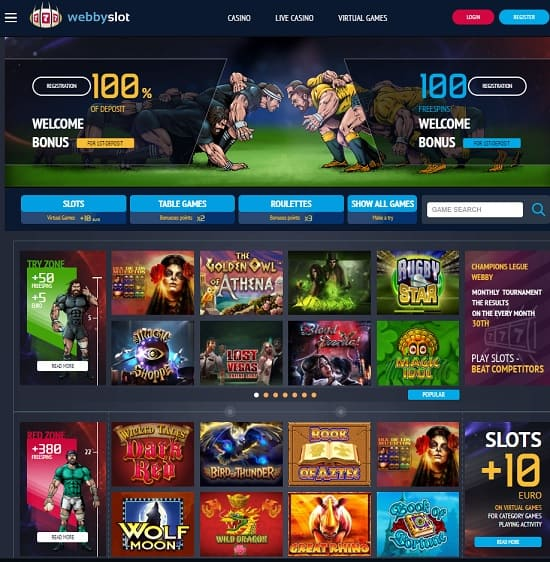Webbyslot Casino Review 100 free spins + 100% bonus for new players