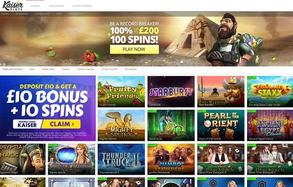 Kaiser Slots Casino Review: $/£/€10 bonus & 10 free spins on Starburst