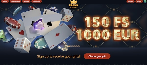 Frank Casino Welcome Bonus