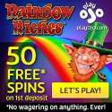 Play OJO Casino – 50 free spins on Rainbow Riches – no wagering bonus