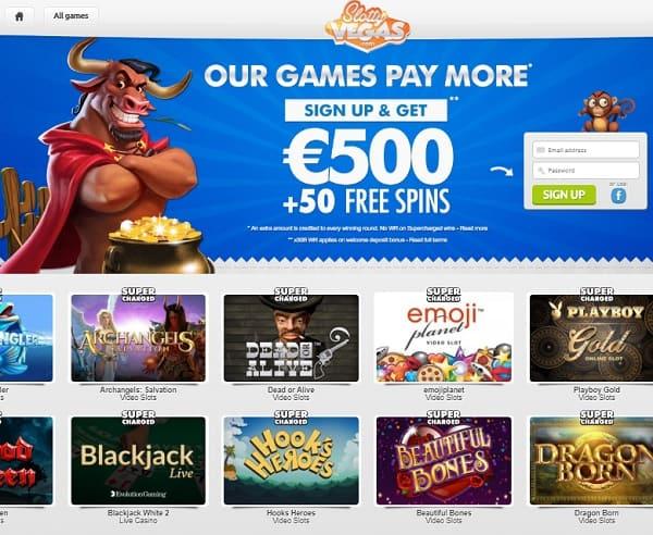 SlottyVegas free spins bonus