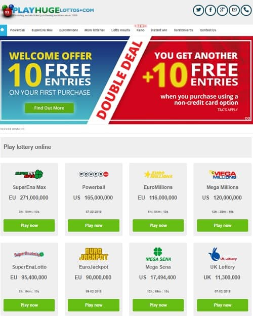 Play Huge Lottos free bonuses and results