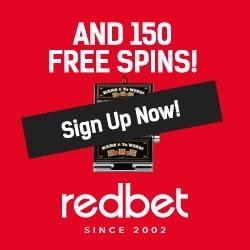 Redbet Casino Review | 150 free spins + $/£/€ 200 free bonus codes