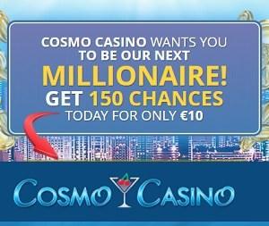Cosmo Casino 150 free spins bonus on Mega Moolah jackpot