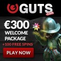Guts Casino 100 free spins and 100% up to 300 EUR welcome bonus