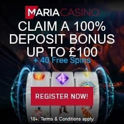 Maria Casino 40 free spins & 100% bonus - UK, Sweden, Norway, Finland