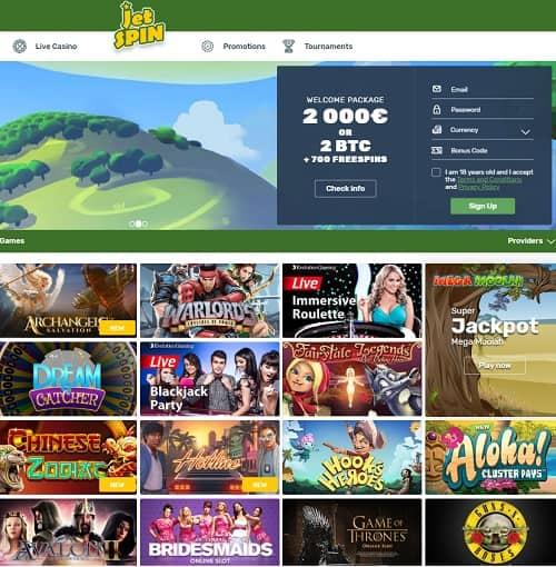 Jetspin Casino free spins bonus
