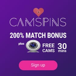 CamSpins Casino 200% up to €300 bonus + 30 min Free Cams Show