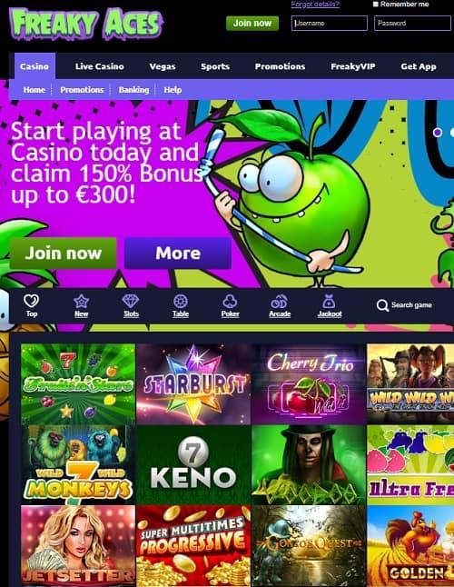 Freaky Vegas Casino free spins bonus