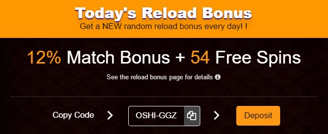Oshi Casino reload bonus