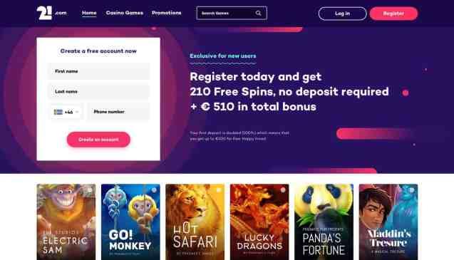 21 Casino free spins and bonus