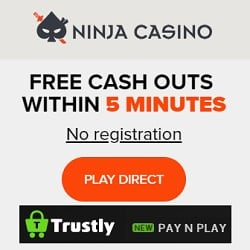 Ninja Casino (no account & login) 250 free spins - Sweden & Finland