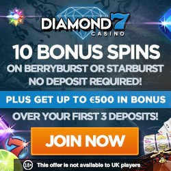 Diamond 7 Casino 60 free spins & €500 free bonus - no max payout!