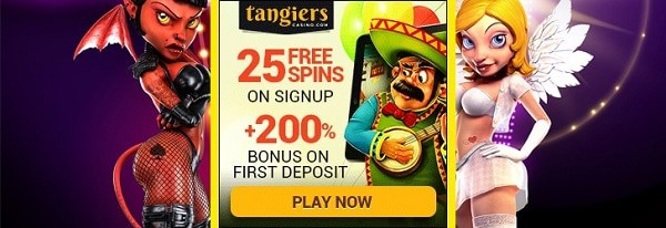 Tangiers Casino 25 free spins no deposit bonus on sign-up