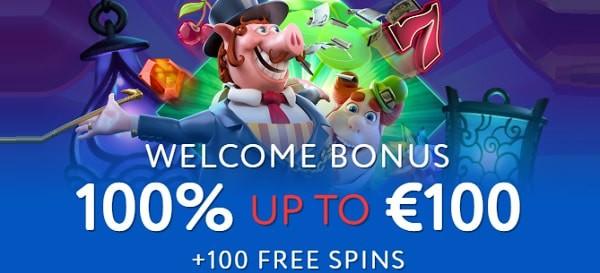 EUSLOT Casino 100% bonus and 100 free spins