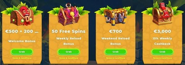 Wazamba Casino welcome bonus and free spins