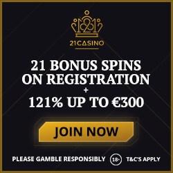 21 Casino 21 free spins no deposit + 121% up to €300 bonus