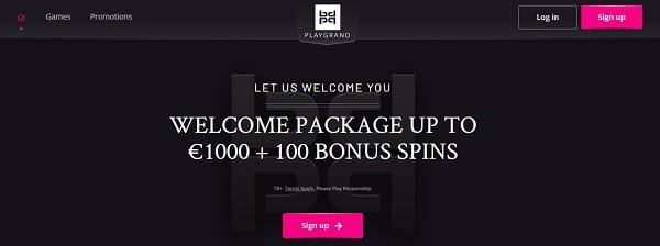 PlayGrand Casino 100 free spins and 1000 EUR/GBP/USD welcome bonus