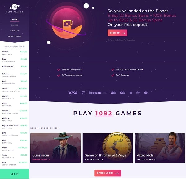 Slot Planet Casino Online & Mobile Review