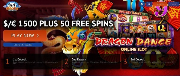 50 Free Spins on Dragon Dance and $1500 welcome bonus to All Slots Casino Online