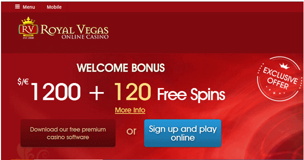 Royal Vegas Casino exclusive welcome bonus: 120 free spins on Mega Moolah and $1200 free cash