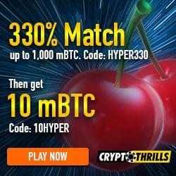 Crypto Thrills 10mBTC no deposit + 330% free bonus