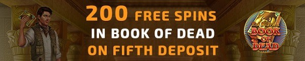 5th deposit bonus: 200 free spins on Book of Dead (Play n'Go slot).