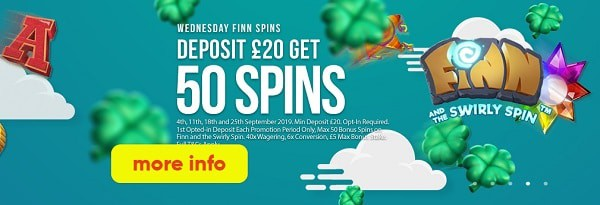 50 Free Spins every week