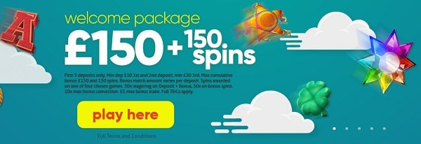 150 Free Spins and 150 GBP welcome bonus