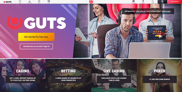 Register at Guts to play 100 no wager free spins!