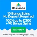 Casilando Casino 10 free spins no deposit and 100% up to €300 welcome bonus + 90 gratis spins