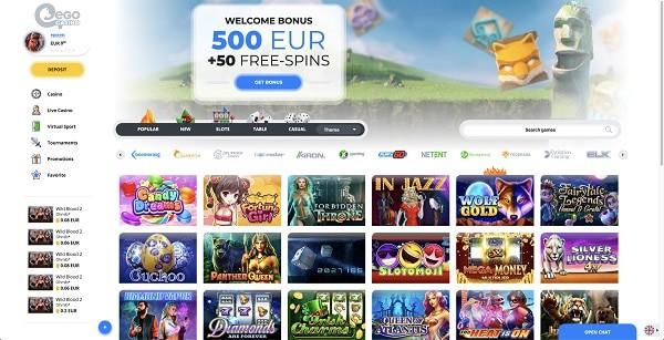 EgoCasino.com 100% bonus and free spins