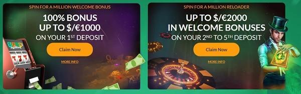 100% bonus and 100 free spins exclusive welcome bonus