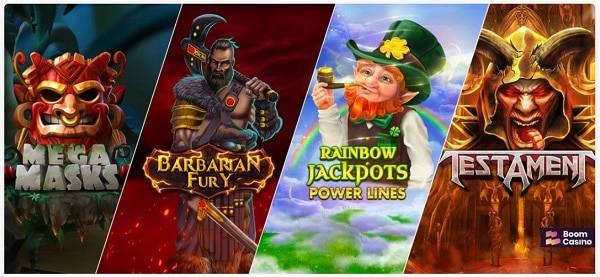 Boom games, slots, live dealer, poker, scratch cards