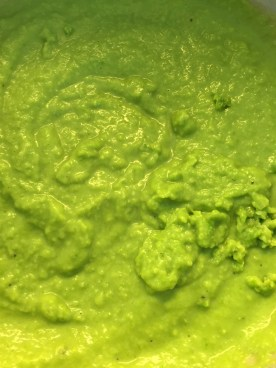 Bright green, sweet and creamy pea puree