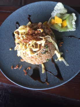 Nasi Goreng - Indonesian fried rice with pickled vegetables