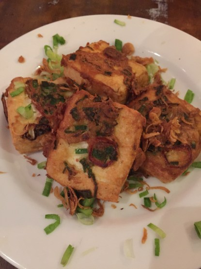 Fried Tofu with green shallots