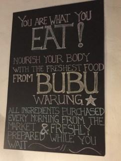 Chalkboard at Bubu's Warung in Penestanan, Ubud