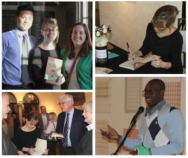 BOOKMARKED Launch, Two Student Authors with Camacho, Camacho at Signing Desk, Signing for Crowd, Student Author Sharing © by Free Spirit Publishing