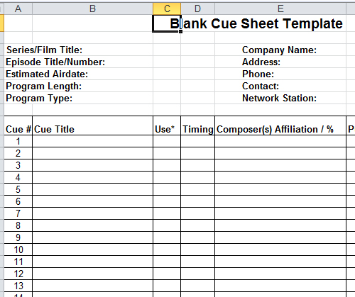 Downloadable Cue Sheet Template