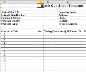 blank cue sheet